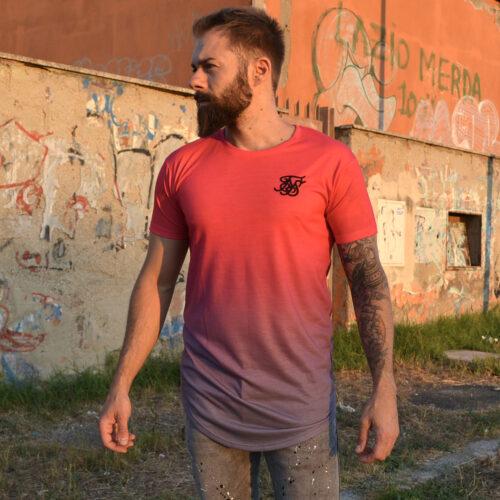 T-Shirt - Fade Neon Pink/Grey - SikSilk